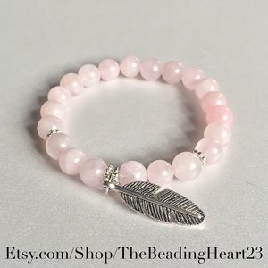 Rose Quartz Feather Healing Bracelet
